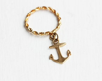Gold Anchor Charm Ring