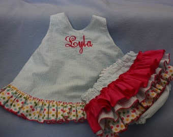 Birthday Outfit Sassy ruffle pinafore top and Sassy ruffle bloomer 1st Birthday outfit