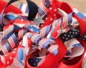 FREE Shipping- Over The Top Patriotic Fourth of July Festive Hair Bow, Boutique HairClip, Holiday Bow, Summer Boutique Hairbow-  School Bow
