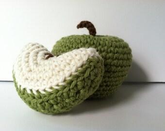 Amigurumi Crochet Granny Smith Apple and Apple Wedge Baby Rattle Set Baby Shower Gift Set Plush Apple Rattle Gift Under 25 Crochet rattle