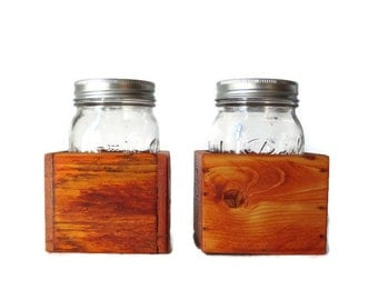Mason Jar Centerpiece Box Set of Two - Country Wedding and Home Decor - Reclaimed Wood