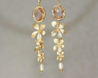Champagne Gold Delicate Earrings, Bridal Shower, Weddings, Elegant Earrings, Floral, for Groom Mom, for Bridal Mom, for Sister, Graduation