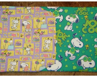 SNOOPY and JOE COOL Reversible Table Runner Easter Patchwork and Joe Cool St Patricks Day