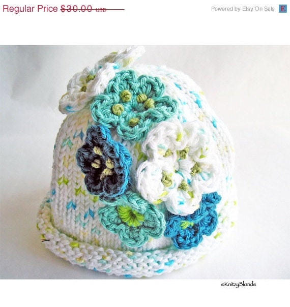 Hand Knit Baby Hat, Crochet Flowers, Cotton Yarn White, Turquoise, Aqua Blue, Size 3 - 6 mos