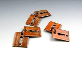 Enameled Key Hole  / Autumn Enamel / Made to order