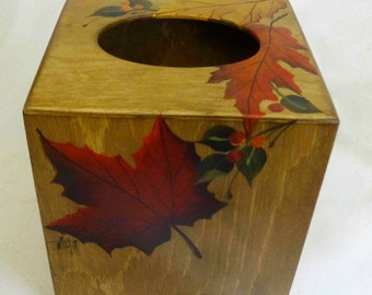 Boutique Style Tissue Box Cover   wood  hand painted with fall leaves