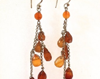 Carnelian Gemstone Earrings, Waterfall Earrings, Wire Wrapped Briolette Earrings in Sterling Silver