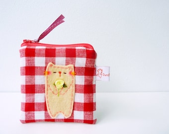 Cat Pouch, Cat Coin Purse, Coin Wallet, Coin Purse, Red Gingham Pouch, Cat Zipper Pouch, Change Purse, Pouch, Small Fabric Purse - Cat