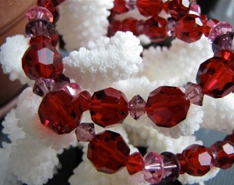 Red Hot Vintage Ruby Red & Pink Lisner Swarovski Crystal Double Strand Choker Necklace Mid Century Designer Choker