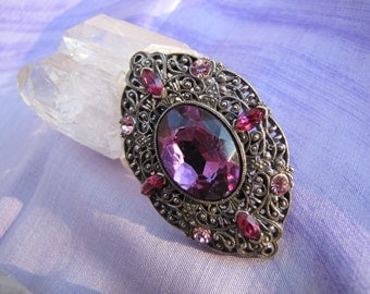 Beautiful Vintage Victorian SIlver Filigree Brooch with Red  & Pink  Austrian /Swarovski Crystals