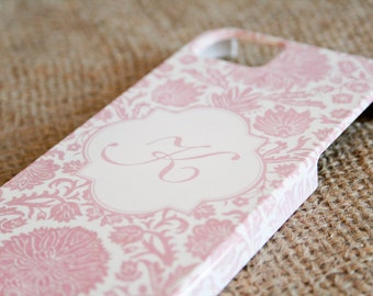 iPhone 6 Case Monogrammed iPhone 5 Case, Pink Damask Floral, Girly Phone Case, iPhone 5S,  Case iPhone 6S Case