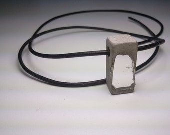 Concrete Jewelry  - Natural gray concrete with recycled mirror glass aggregate Urban fossil