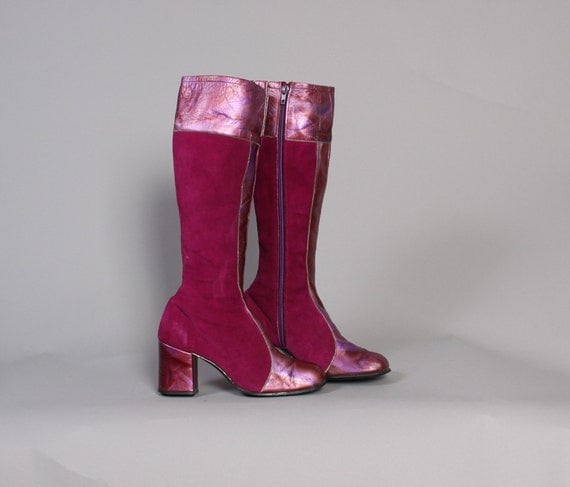 70s Metallic MAGENTA BOOTS / Tall Suede & Marbled LEATHER Boots, 6