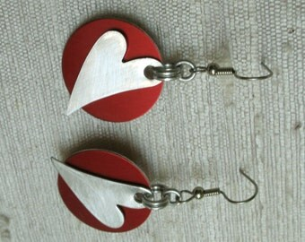 Heart Chainmail Earrings Red and Silver