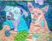 Custom Quilted Pet Portrait Quilt Wallhanging Order for Kate