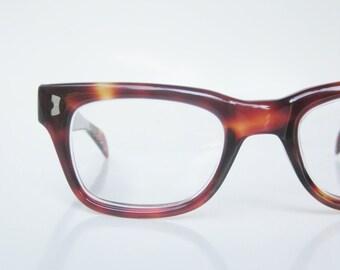 Vintage 1950s Horn Rim Eyeglasses Sunglasses Tortoiseshell Dark Brown Mottled Unisex Mens Womens 50s Mid Century Modern Mod Indie Hipster
