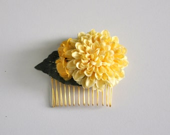 Yellow Mum Flower Hair Comb , Flower Hair Comb , Bohemian Wedding Hair Comb