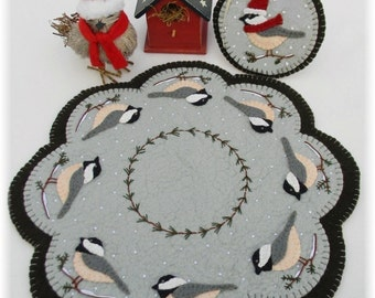 Cheerful Chickadees Candle Mat/Penny Rug with Mini Mat DIGITAL PATTERN
