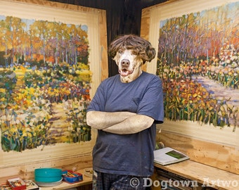 """Portrait of the Artist as a Young Dog, large original photograph of a Weimaraner """"dog artist"""" posing next to his work"""