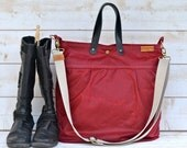 Waxed Canvas Diaper bag Messenger bag Red Tote VOGUE BORDEAUX  / Leather straps / Women messenger Men messenger / Travel bag waterproof