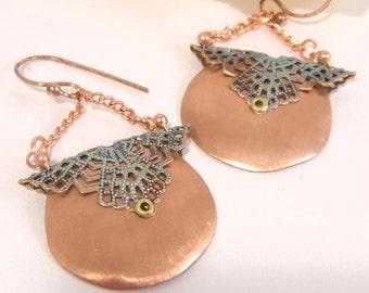 Victorian-esk Copper and Filigree Dangle Earrings
