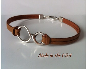 Unique bracelet for Him. Leather Infinity bracelet for Him, Infinity bracelet, friendship bracelet