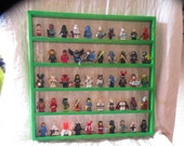 Handcrafted Solid Pine Painted Fluorescent Green Legos Minifigure  50 Figure Display Shelf w/ Black 2x2 Plates