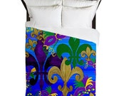 Pslycadelic Mardi Gras Fleur de lis Duvet Cover from my art. Available in twin,queen and king sizes