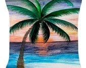 Sunset Palm Tree throw pillow from my art