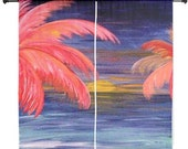 """Pink palms ocean sunset shear curtains available in 60"""" or 84"""" lengths"""