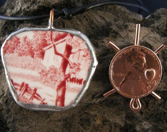 PENDANT  POTTERY SHARD,Red,ooak,Handmade with Soldered Edging with a Ajustable Knotted Leather Cord,