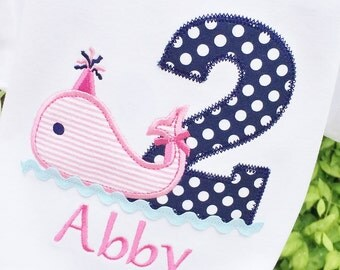 Girls Birthday Whale with Age