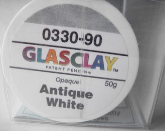 GlasClay Antique White 50 gram jar, NIB glass jewelry making supply, opaque glass art supplies