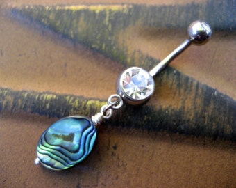 Abalone Bead Belly Button Jewelry Ring Navel Piercing Paua Sea Shell Drop Charm Dangle Seashell Bar Barbell