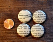 "Set of 4, Christmas poinsettia, MAGNET OR PIN 1"" inch button badges, handmade new with real vintage art and gift card"