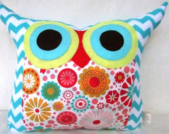Gift /Aqua /Zig zag /Polyfil Stuffed plush Owl Pillow/decoration pillow /Ready to ship (large size)