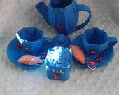 I'm A Little Tea Pot..  Cornflower Blue Felt Tea Set with Strawberries