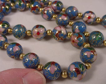 Medium Blue Cloisonne Beads pink and white flower flowers and gold tone spacers 21 inch long beaded Necklace jewelry V259-4