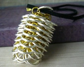 Chainmaille Pinecone Pendant Necklace, Pinecone Necklace, Pine Cone Necklace, Leather Cord, Mixed Metal Necklace, Chainmaille Necklace, Gold
