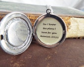 Guidance - Sterling Silver Plated Locket, Compass and JEREMIAH 29:11 QUOTE Locket Necklace