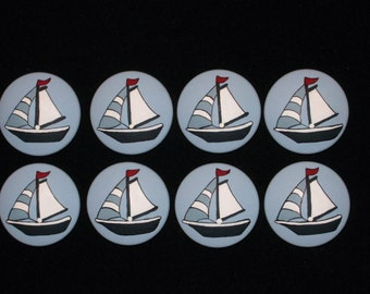 Set of 8 SAILBOATS -  Hand Painted Knobs