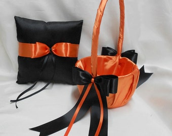 Wedding Accessories Bridal Package Orange Black Flower Girl Basket Ring Bearer Pillow Your  Colors