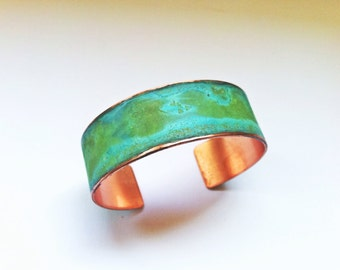 "The Original Patina Cuff - Green Verdigris 3/4"" Copper Cuff"