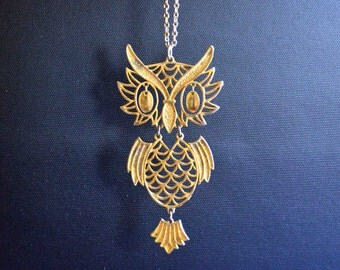 Vintage 1960's 3 Piece Owl Necklace in Brass Finish