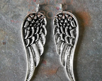 6 Wing Pendants, Angel Wing Charms, Bird Feathers,  Antique Silver Color Charms Metal Alloy 15x48mm