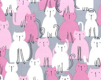 Michael Miller Fabric Here Kitty Kitty Cats Orchid, Choose your cut