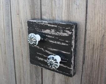 "Key Hook, Wall Key Hanger, Coat Hook, black on barnwood gray, 6"" x 6"" square  black and gray ceramic knobs, distressed finish, 2 knobs"