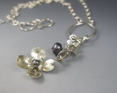 Sterling Silver Necklace with Dogwood Pendant