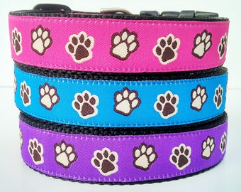 Paw Prints - Dog Collar / Handmade / Adjustable / Pet Accessories / Large Dog / 1 Inch