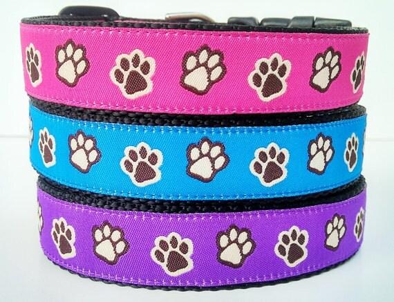 Paw Prints - Dog Collar / Handmade / Adjustable / Pet Accessories / Large Dog / 1 Inch